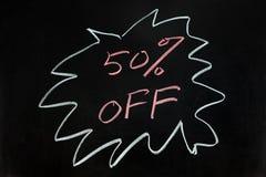 Cinqüênta por cento fora Fotos de Stock