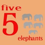 Cinq éléphants Image libre de droits