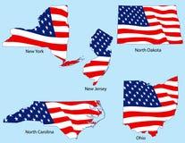 Cinq états avec des indicateurs Photographie stock