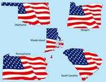 Cinq états avec des indicateurs Photos stock
