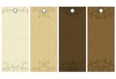 Cinq étiquettes en bois, vecteur Images libres de droits