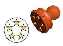 Cinq étoiles évaluant le timbre d'isolement illustration stock