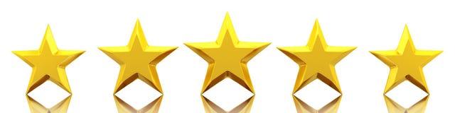 Cinq étoiles d'or brillantes Image stock