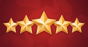 Cinq étoiles d'or sur le fond rouge Photos libres de droits