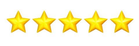 Cinq étoiles jaunes dans une rangée sur le blanc Photos libres de droits
