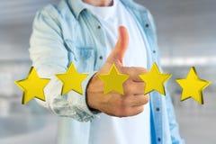 Cinq étoiles jaunes sur une interface futuriste - rendu 3d Photographie stock