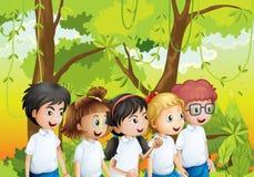 Cinq étudiants à la forêt illustration stock