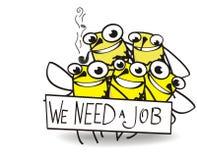 Cinq abeilles ayant besoin de travail illustration stock