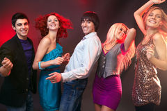 Cinq amis de danse Photo libre de droits