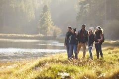 Cinq amis marchant près d'un lac cessent de rentrer la vue Images libres de droits