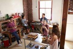 Cinq amis se tiennent traînants dans la cuisine, vue élevée Images stock