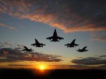 Cinq avions à réaction Images stock
