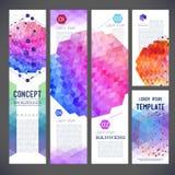Cinq bannières abstraites de conception, thème d'affaires, insecte Photographie stock libre de droits