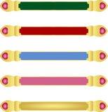 Cinq bannières abstraites de couleur verte de rose de rouge bleu avec la frontière métallique d'or et les cristaux assortis de pi illustration stock