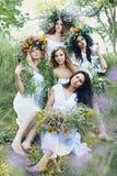 Cinq belles filles en guirlandes images libres de droits