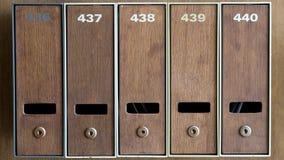 Cinq boîtes aux lettres avec le nombre Image stock