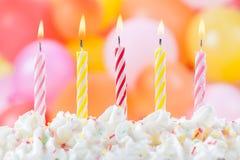 Cinq bougies d'anniversaire Photographie stock