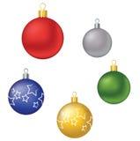 Cinq boules de Noël Photo stock