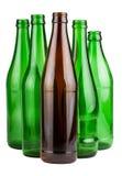 Cinq bouteilles vides photos stock