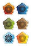 Cinq boutons carrés Photo stock