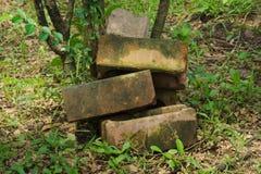 Cinq briques de construction de ciment, jetées en parc thaïlandais vert photo libre de droits