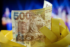Cinq cents dollars de Hong Kong, Hong Kong Money, Hong Kong Celebrate Light Show photographie stock libre de droits