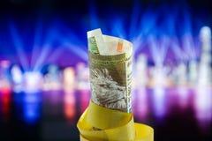 Cinq cents dollars de Hong Kong, Hong Kong Money, Hong Kong Celebrate Light Show photo stock