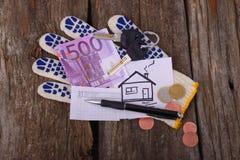 Cinq cents euros ont peint la maison et les clés sur le gant pour Photographie stock