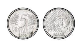 Cinq cents inventent, l'année 1996 - de vieilles pièces de monnaie du Brésil photographie stock