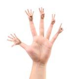 Cinq configurations des doigts dessus quintuples. Photographie stock