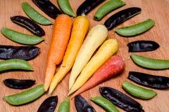Cinq couleurs de carotte Photographie stock libre de droits