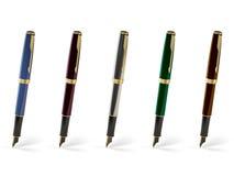 Cinq crayons lecteurs d'encre Images libres de droits