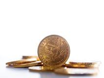 Cinq dollars de pièces d'or Photographie stock libre de droits