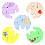 Cinq elephats mignons Images stock