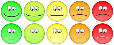 Cinq emojis de évaluation illustration stock