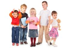 Cinq enfants sur le collage blanc Photographie stock