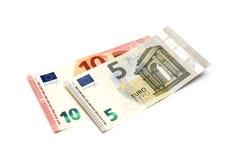 Cinq et dix euros Photos stock