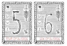 Cinq et six d'épées La carte de tarot Photos stock