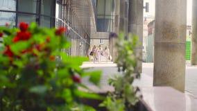 Cinq femmes attirantes d'affaires marchant dans la ville clips vidéos