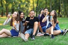 Cinq femmes et hommes d'amis gonflent la bulle de savon dehors Images libres de droits
