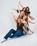 Cinq femmes heureuses Image libre de droits