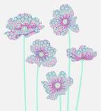 Cinq fleurs avec un modèle abstrait sur les pétales Photos libres de droits