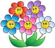 Cinq fleurs de dessin animé illustration stock