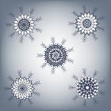Cinq flocons de neige Photographie stock