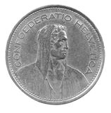 Cinq francs de pièce de monnaie Image stock