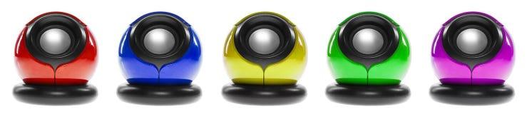 Cinq haut-parleurs d'ordinateur Photo stock
