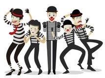 Cinq heureux mignons de clowns de pantomime Photos libres de droits