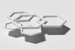 Cinq hexagones tridimensionnels blancs sur le fond blanc Images libres de droits