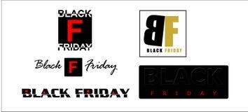Cinq icônes en vente noire de vendredi Image stock