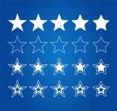 Cinq icônes de récompense de qualité d'étoile Photos stock